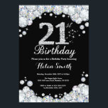 "21st Birthday Invitation Chalkboard Silver Diamond<br><div class=""desc"">21st Birthday Invitation. Silver Rhinestone Diamond Chalkboard Background. Elegant Birthday Bash invite. Black and White. Adult Birthday. Women Birthday. Men Birthday. For further customization,  please click the ""Customize it"" button and use our design tool to modify this template.</div>"