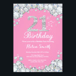"21st Birthday Invitation Pink and Silver Diamond<br><div class=""desc"">21st Birthday Invitation. Pink and Silver Rhinestone Diamond. Elegant Birthday Bash invite. Adult Birthday. Women Birthday. Men Birthday. For further customization,  please click the ""Customize it"" button and use our design tool to modify this template.</div>"
