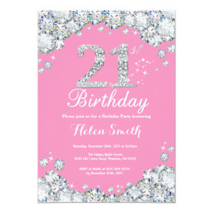 pink silver jewel 21st birthday invitations zazzle