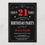 """21st Birthday Invitation Red and Black Chalkboard<br><div class=""""desc"""">21st Birthday Invitation Red and Black Typography. Chalkboard. Black and White Background. Adult Birthday. Male Men or Women Birthday. Kids Boy or Girl Lady Teen Teenage Bday Invite. 13th 15th 16th 18th 20th 21st 30th 40th 50th 60th 70th 80th 90th 100th. Any Age. For further customization, please click the """"Customize...</div>"""