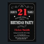 "21st Birthday Invitation Red and Black Chalkboard<br><div class=""desc"">21st Birthday Invitation Red and Black Typography. Chalkboard. Black and White Background. Adult Birthday. Male Men or Women Birthday. Kids Boy or Girl Lady Teen Teenage Bday Invite. 13th 15th 16th 18th 20th 21st 30th 40th 50th 60th 70th 80th 90th 100th. Any Age. For further customization, please click the ""Customize...</div>"
