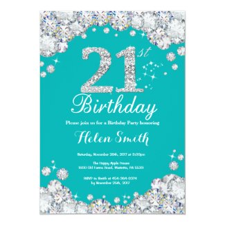 21st Birthday Invitation Teal and Silver Diamond