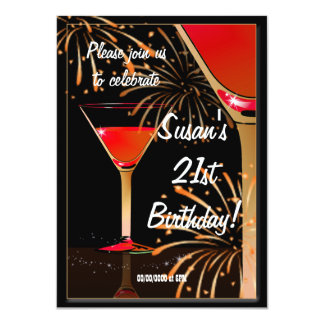 "21st Birthday Martini Cocktail Party 4.5"" X 6.25"" Invitation Card"