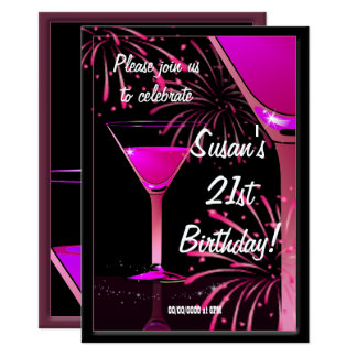 21st Birthday Martini Cocktail Pink Party Card