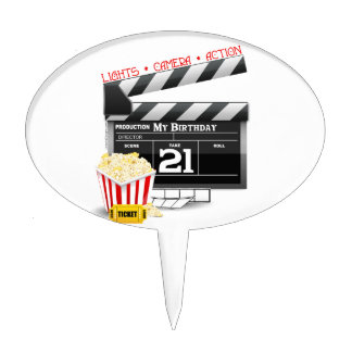 21st Birthday Movie Party Cake Toppers