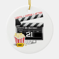 21st Birthday Movie Party Ceramic Ornament