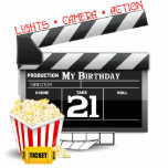 "21st Birthday Movie Party Cutout<br><div class=""desc"">21st birthday t-shirts and gifts for a movie themed 21st birthday party. 21st birthday movie t-shirts,  party favors,  cards,  stamps and 21st film birthday party decorations complete with movie clap board,  popcorn and film.</div>"
