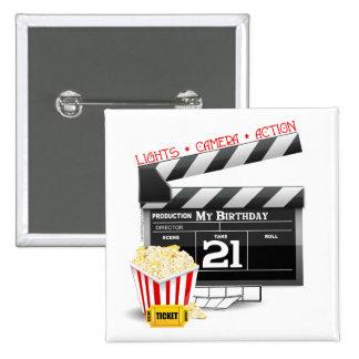 21st Birthday Movie Party Pinback Button