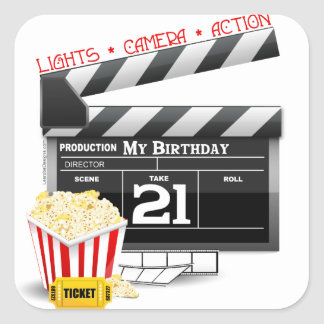 21st Birthday Movie Party Square Sticker