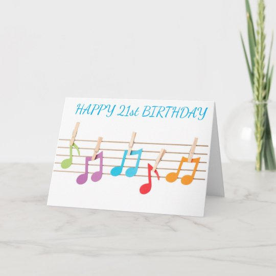 Tremendous 21St Birthday Musical Notes Birthday Wishes Zazzle Com Personalised Birthday Cards Cominlily Jamesorg
