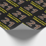 """[ Thumbnail: 21st Birthday: Name & Faux Wood Grain Pattern """"21"""" Wrapping Paper ]"""