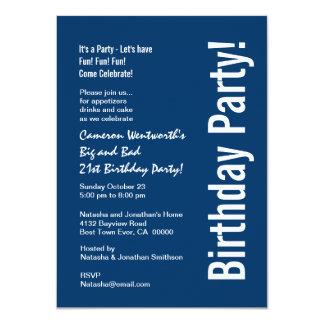 21st Birthday Navy Blue White Budget V101C 4.5x6.25 Paper Invitation Card