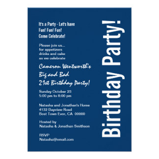 21st Birthday Navy Blue White Budget V101C Invitation
