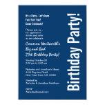 21st Birthday Navy Blue White Budget V101C Invitation