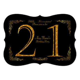 21st,Birthday party 21st,great Gatsby,black & gold Card