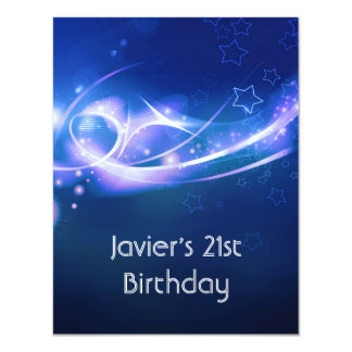 21st Birthday Party Abstract Blue Explode Modern 2 4.25x5.5 Paper Invitation Card