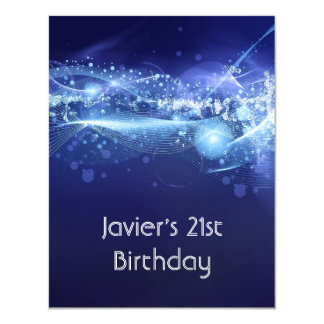 21st Birthday Party Abstract Blue Explode Modern 4.25x5.5 Paper Invitation Card