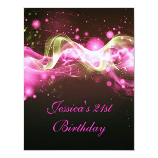 21st Birthday Party Abstract Pink Explode Modern 2 4.25x5.5 Paper Invitation Card