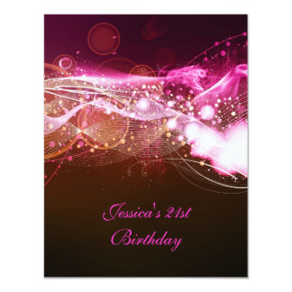 21st Birthday Party Abstract Pink Explode Modern 4.25x5.5 Paper Invitation Card