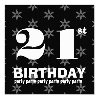 21st Birthday Party Black and White Stars W860 Custom Announcements