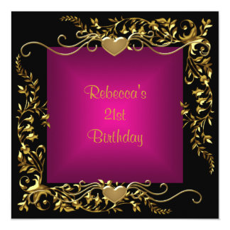 21st Birthday Party Black Bright Deep Pink Gold Card