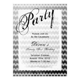 21st Birthday Party Black Chevron Grunge Invites
