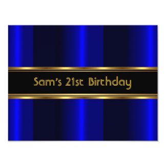 21st Birthday Party Black Cobalt Blue Gold Mans 4.25x5.5 Paper Invitation Card