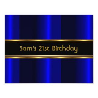 21st Birthday Party Black Cobalt Blue Gold Mans 4.25x5.5 Paper Invitation Card