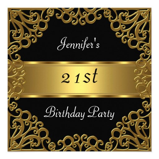 21st birthday Party Black Gold Personalized Invites