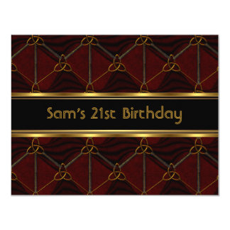 21st Birthday Party Black Leather Gold Mans 2 4.25x5.5 Paper Invitation Card