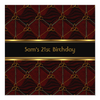 21st Birthday Party Black Leather Gold Mans Card