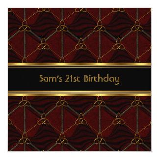 21st Birthday Party Black Leather Gold Mans Invitation