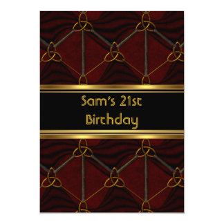 21st Birthday Party Black Leather Gold Mans Mens 5x7 Paper Invitation Card