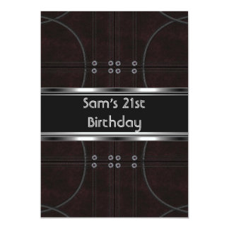 21st Birthday Party Black Leather Silver Mans Mens 5x7 Paper Invitation Card