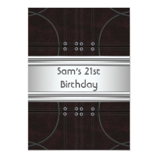 21st Birthday Party Black Leather Silver Mans Mens Card