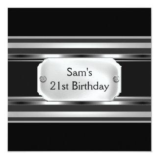 21st Birthday Party Black Metal Silver Mans Mens Card