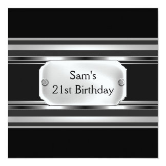 21st Birthday Party Black Metal Silver Mans Mens Personalized Announcements