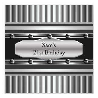 21st Birthday Party Black Metal Silver Mans Mens Announcements