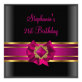 21st Birthday Party Black Pink Silk Gold Jewel Custom Invite
