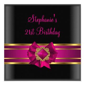 21st Birthday Party Black Pink Silk Gold Jewel 5.25x5.25 Square Paper Invitation Card