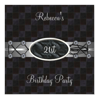 21st Birthday Party Black Silver Lace-up Leather Invitation