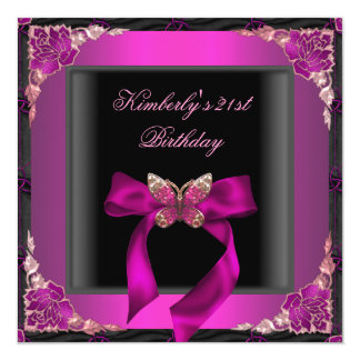21st Birthday Party Black Silver Pink Butterfly Card