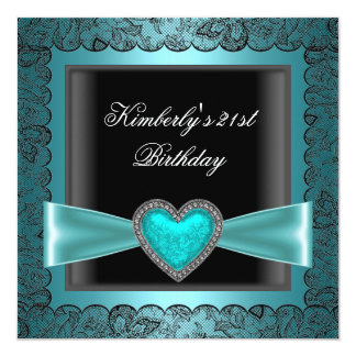 21st Birthday Party Black Silver Teal B Heart Goth Card