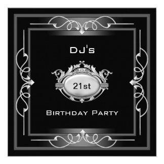 21st Birthday party  Black Silver White Art Deco Custom Announcement