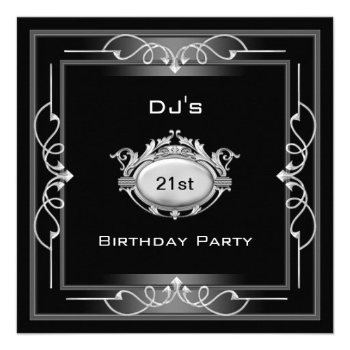Personalized 21st birthday Invitations – Black and White 21st Birthday Invitations
