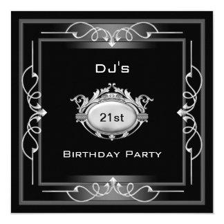 """21st Birthday party  Black Silver White Art Deco 5.25"""" Square Invitation Card"""