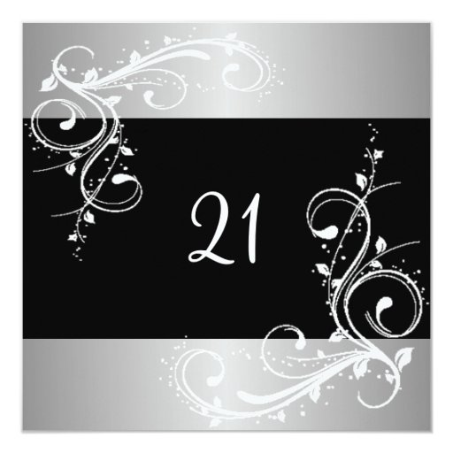 21st Birthday Party Black Silver White Floral Card