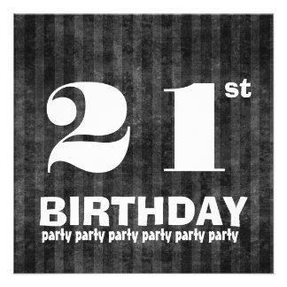 21st Birthday Party Black Stripes W1075 Personalized Invitations