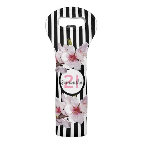 21st birthday party black white stripes flowers wine bag