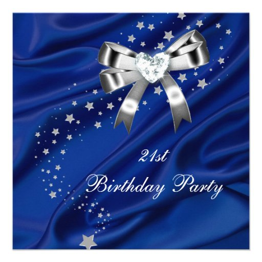 21st Birthday Party Blue Silver Invitation